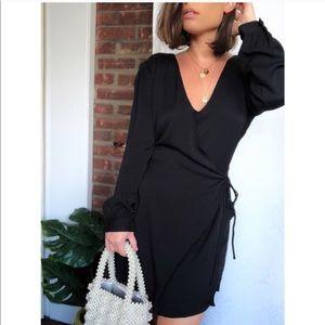Honey Punch Camile Black Romper Wrap Dress 👗